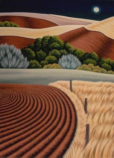 Doug Martindale, Full Moon Over the Palouse chalk pastel on archival paper