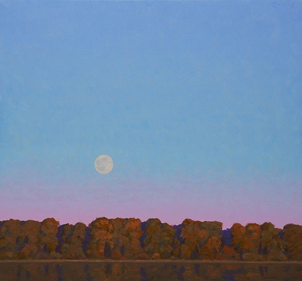 Dale Livezey, Trees, Lake, and Moon 2019, oil on panel