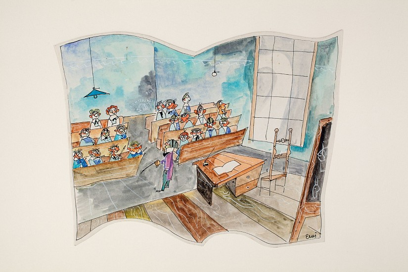 Ernest Lothar, Classroom ink and watercolor