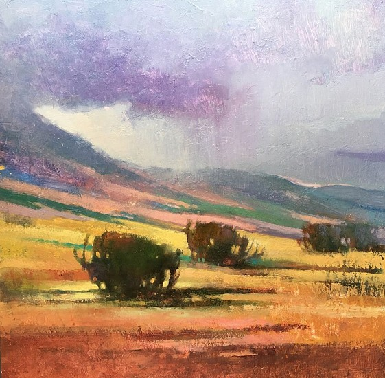 Kathy Gale, Afternoon Storm Near Ennis, Montana 2017, oil on cradled panel