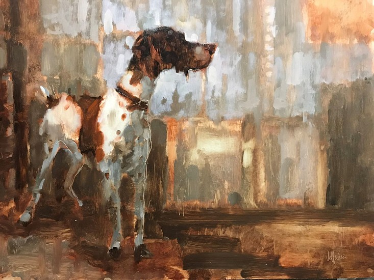 Jeff Weir, Studio Dog 2018, oil on panel