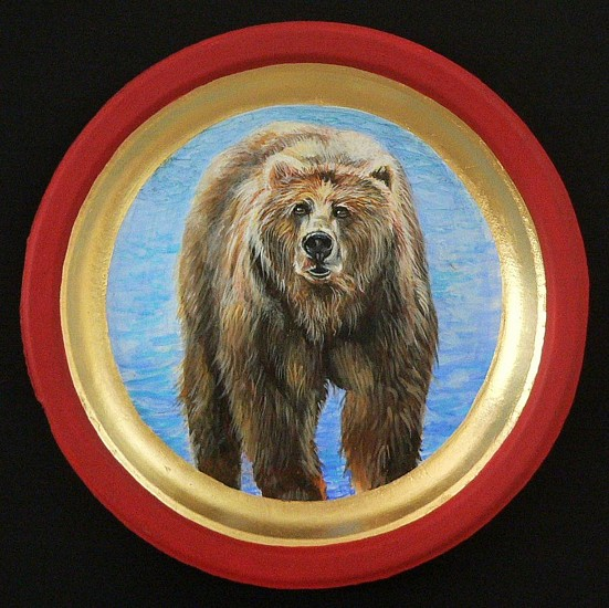 Mary Frances Dondelinger, Grizzly Bear 2013, egg tempera, 23 c. gold, paper plate