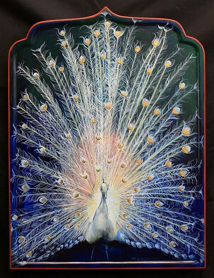 Mary Frances Dondelinger, Sacred White Peacock 2014, egg tempura, 23 c gold