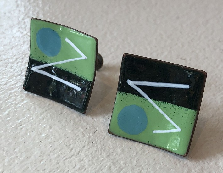 Harold Balazs, Black and Green Square Earrings enamel on copper