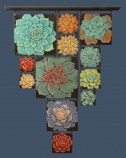Sheila Evans, Succulent Wall 3 2017, enamel on steel