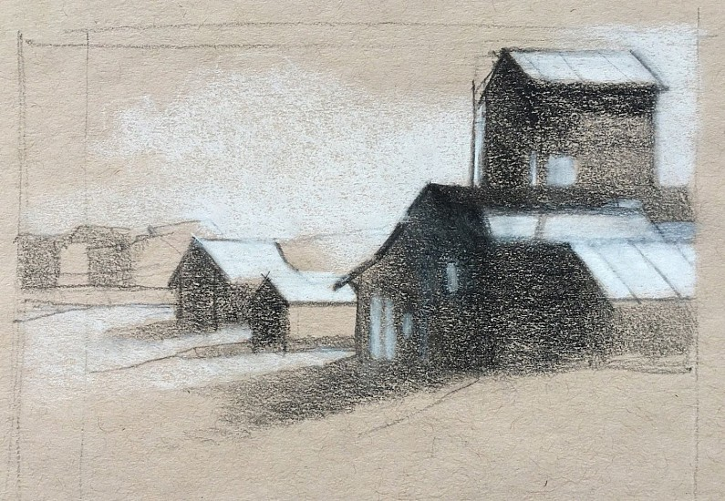 Kathy Gale, Charlo Days, Study 2017, conte pencil on paper