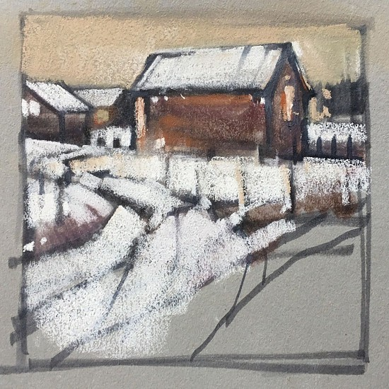 Kathy Gale, Lancaster Barn, Study 2017, tombow pens and pastel on paper