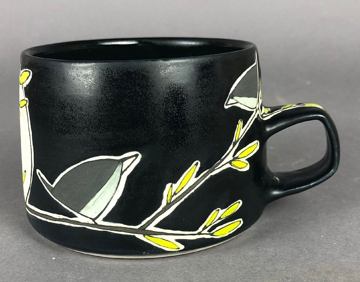 Maya Rumsey, Birds Noir Mug 2019, porcelain and underglaze