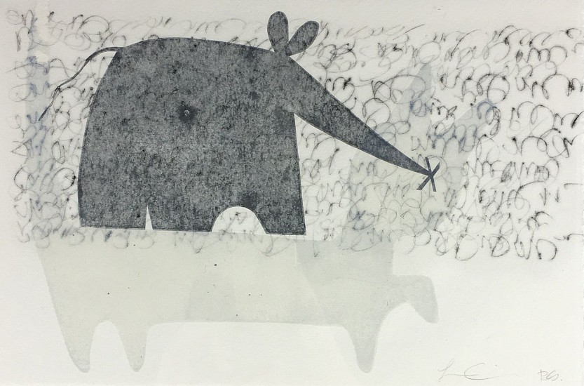 Becky Street & Larry Calkins, Cat and Mouse 2018, monoprint with drypoint