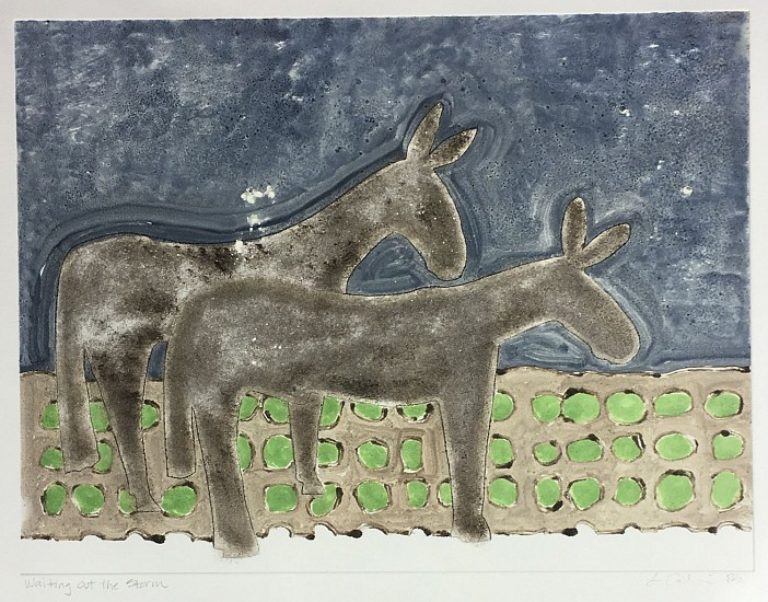 Becky Street & Larry Calkins, Waiting Out The Storm 2017, monoprint with drypoint
