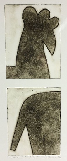 Becky Street & Larry Calkins, Close Ups, Chicken and Elephant 2017, drypoint