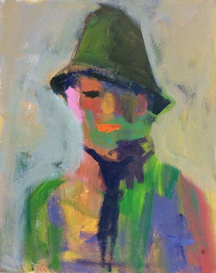 Robert Schlegel, Man with Green Hat 2018, acrylic/canvas