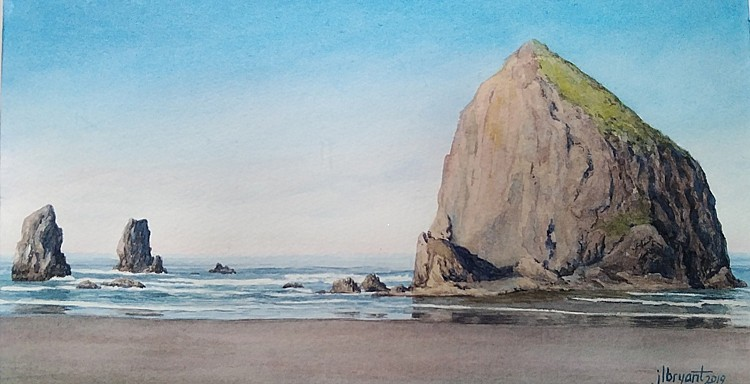 Jessica L. Bryant, Haystack Rock 2019, water color
