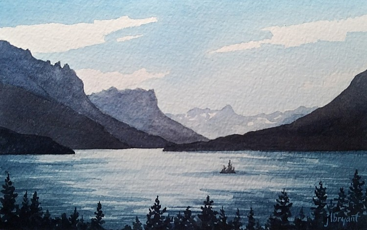 Jessica L. Bryant, St. Mary's Lake, Glacier National Park 2019, water color