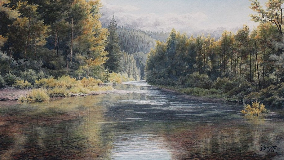 Jessica L. Bryant, Little North Fork, Coeur d'Alene River 2019, water color on paper