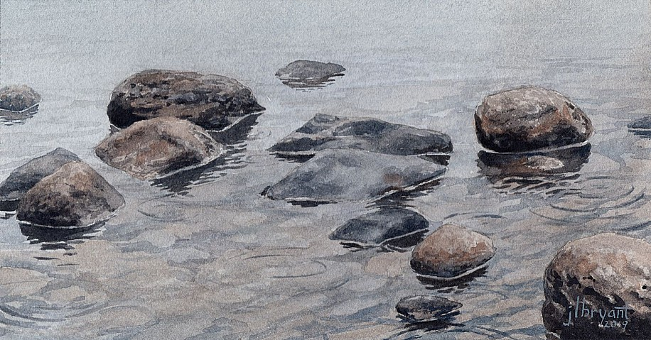 Jessica L. Bryant, Rock Study 2019, water color on paper