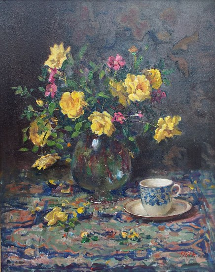Del Gish, Pink and Yellow Roses 2019, oil