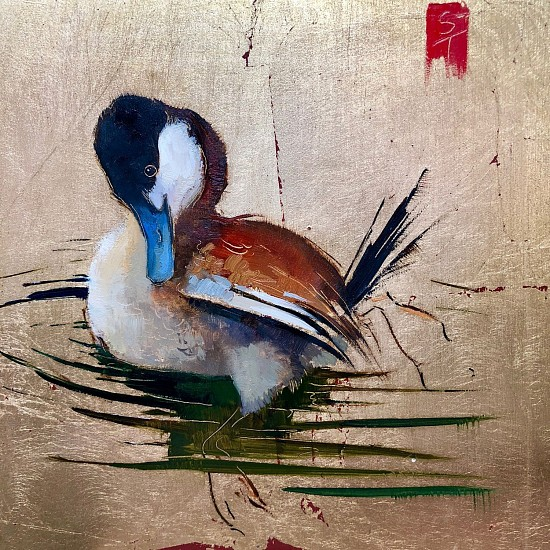 Shannon Troxler, Ruddy Duck 2018, oil and gold leaf on wood panel