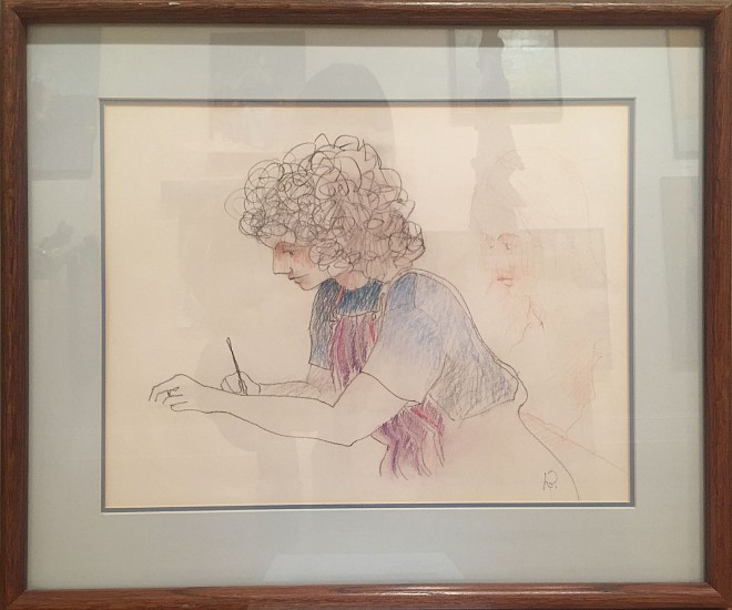 Harold Balazs, Drawing Girl colored pencil on paper