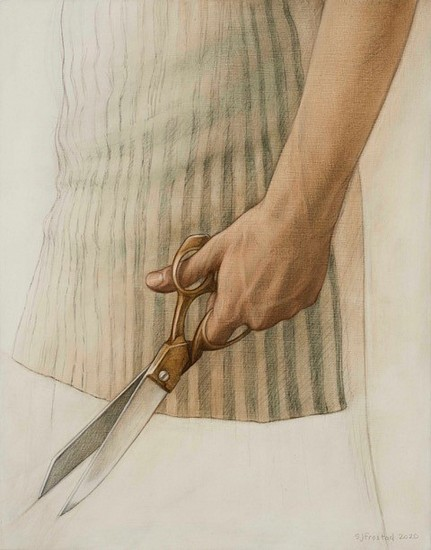 Stephanie Frostad, Shears 2020, graphite & oil on wood panel