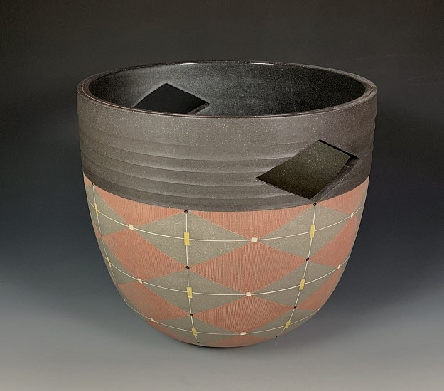 Debra Oliva, Basket with Red Diamonds 2019, black stoneware