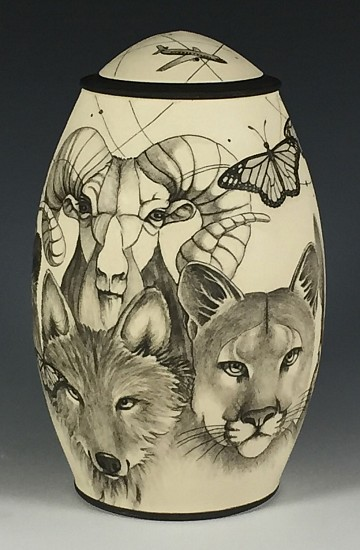 Dennis Meiners, Critters Jar 2019, stoneware with mishima drawings